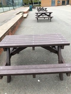 plastic picnic benches for the playground
